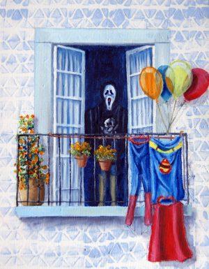 Balconies - birthday party. Oil/Canvas 24x30cm 70€