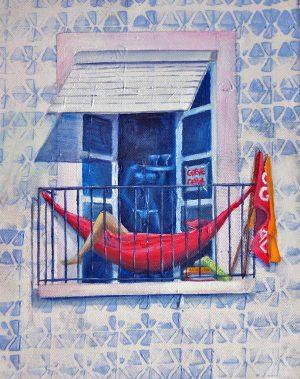 Balconies - on strike. Oil/Canvas 24x30cm 70€